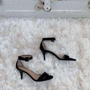 Talbots Black Suede Ankle Strap Heels
